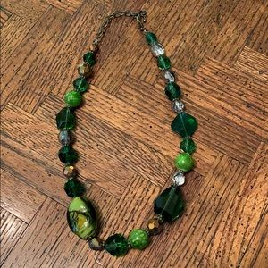 3/$20 Greens &Gold Glass&Plastic Beads Necklace